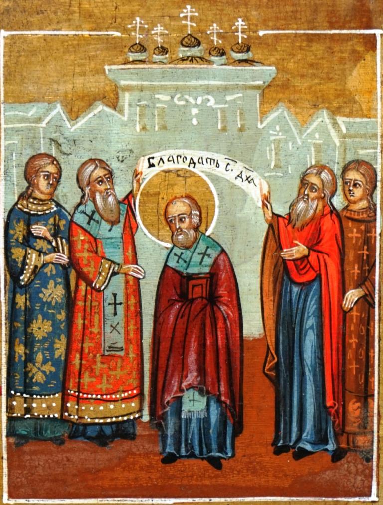 Nikolaas wordt tot bisschop gewijd